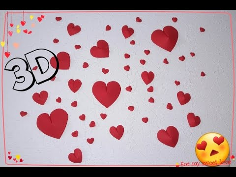 Diy Corazones 3d Para Decorar Tu Habitacion Youtube - Corazones-de-decoracion