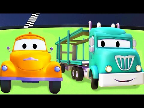 Tom The Tow Truck with the Car Carrier and their friends in Car City  Trucks cartoon for kids