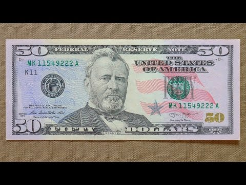 50 US Dollars Banknote (Fifty Dollars USA: 2013) Obverse & Reverse