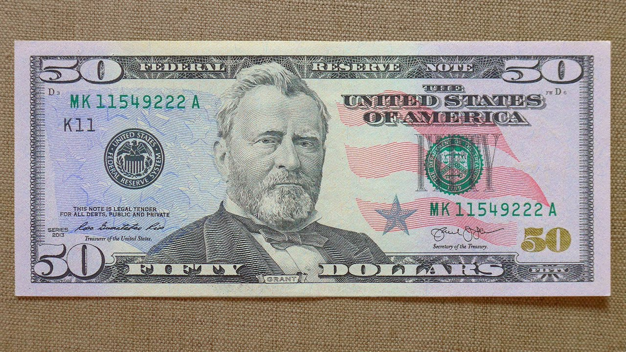 50 US Dollars Banknote (Fifty Dollars USA: 2013) Obverse ... 100 Dollar Bill 2013