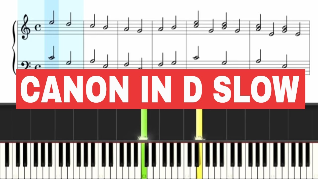 Pachelbel - Canon in D - Piano Sheet Music SLOW