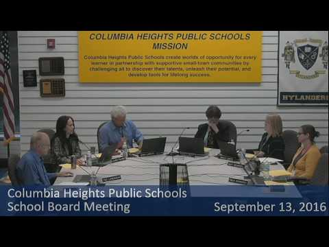 Columbia Heights School Board Meeting September 13, 2016