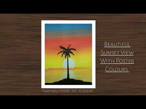 Poster colour sunset scenery landscape painting for beginners easy ll TASRIF ART ACADEMY