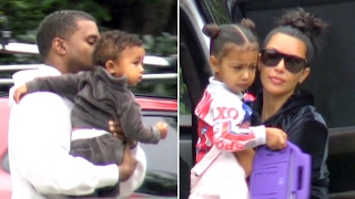 Kim Kardashian And Kanye West Take Saint And Nori To Pre- Super Bowl Party