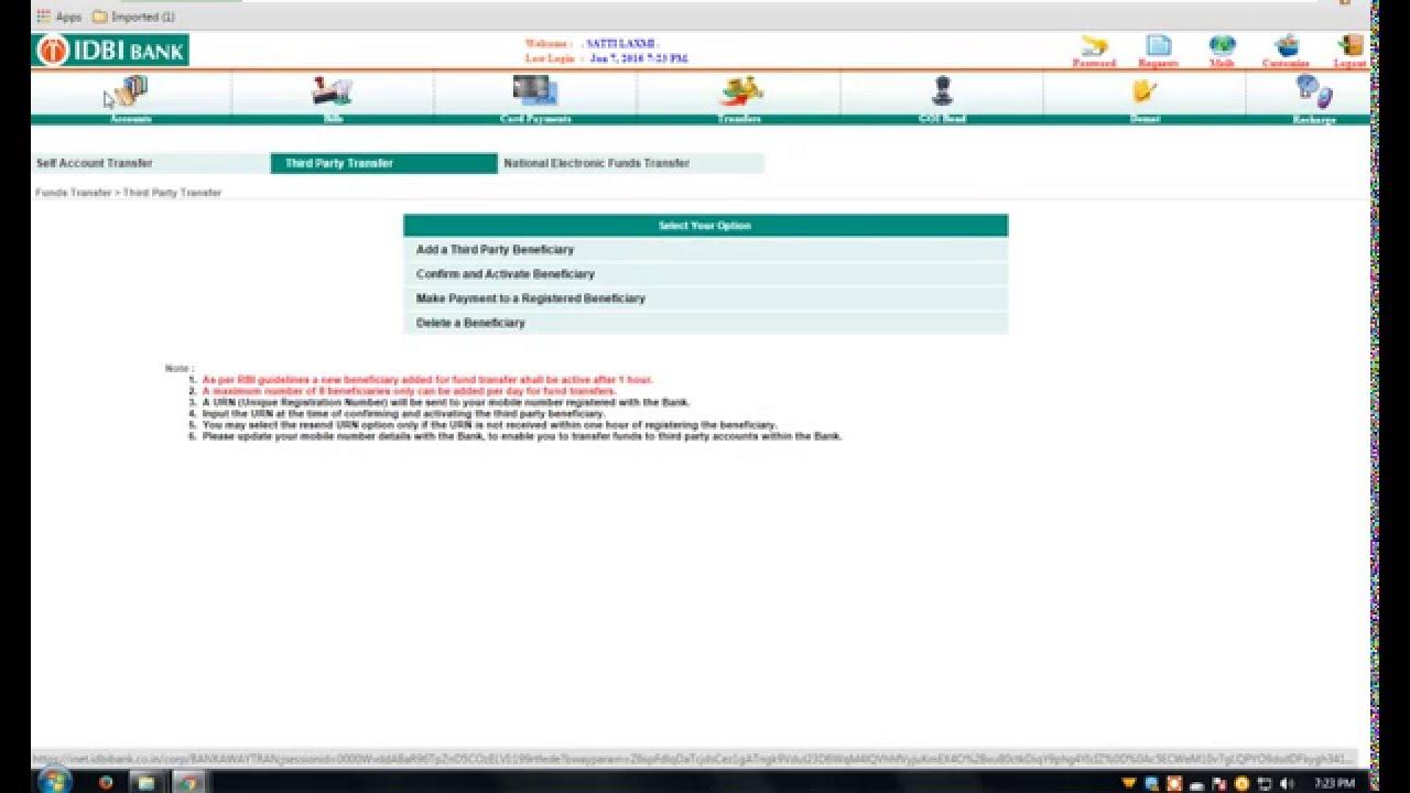 internet banking idbi password