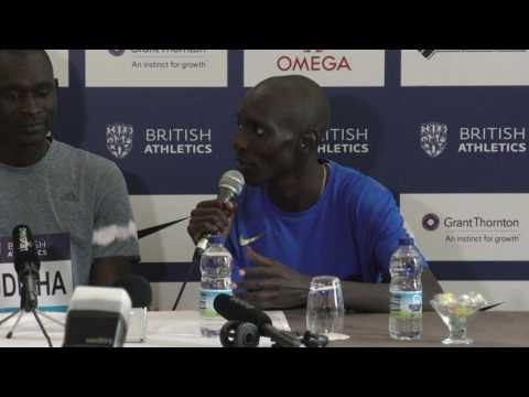 Birmingham Press Conference: Mo Farah, David Rudisha, Asbel Kiprop