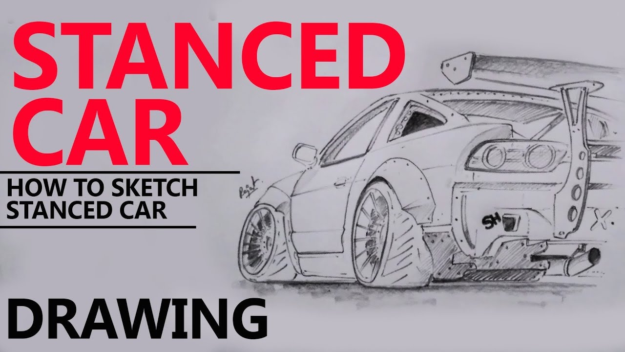 Stanced Car Drawing Pencil Art 240SX Drifting
