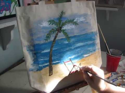 Beginner acrylic painting tutorial: Painting a beach scene on a canvas bag