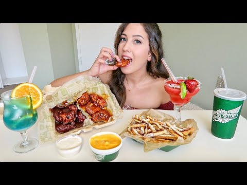 WING STOP Spicy Chicken Wings + Cheese Fries! MUKBANG (Eating Show)