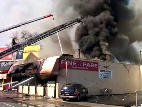 East Orange NJ 3rd Alarm Heavy Fire in Fine Fare Supermarket 935 South Orange Ave 2-13-15