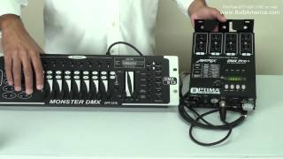 Connecting the Matrix DMX Dimmer Pack to the Optima OPT1216 DMX Controller