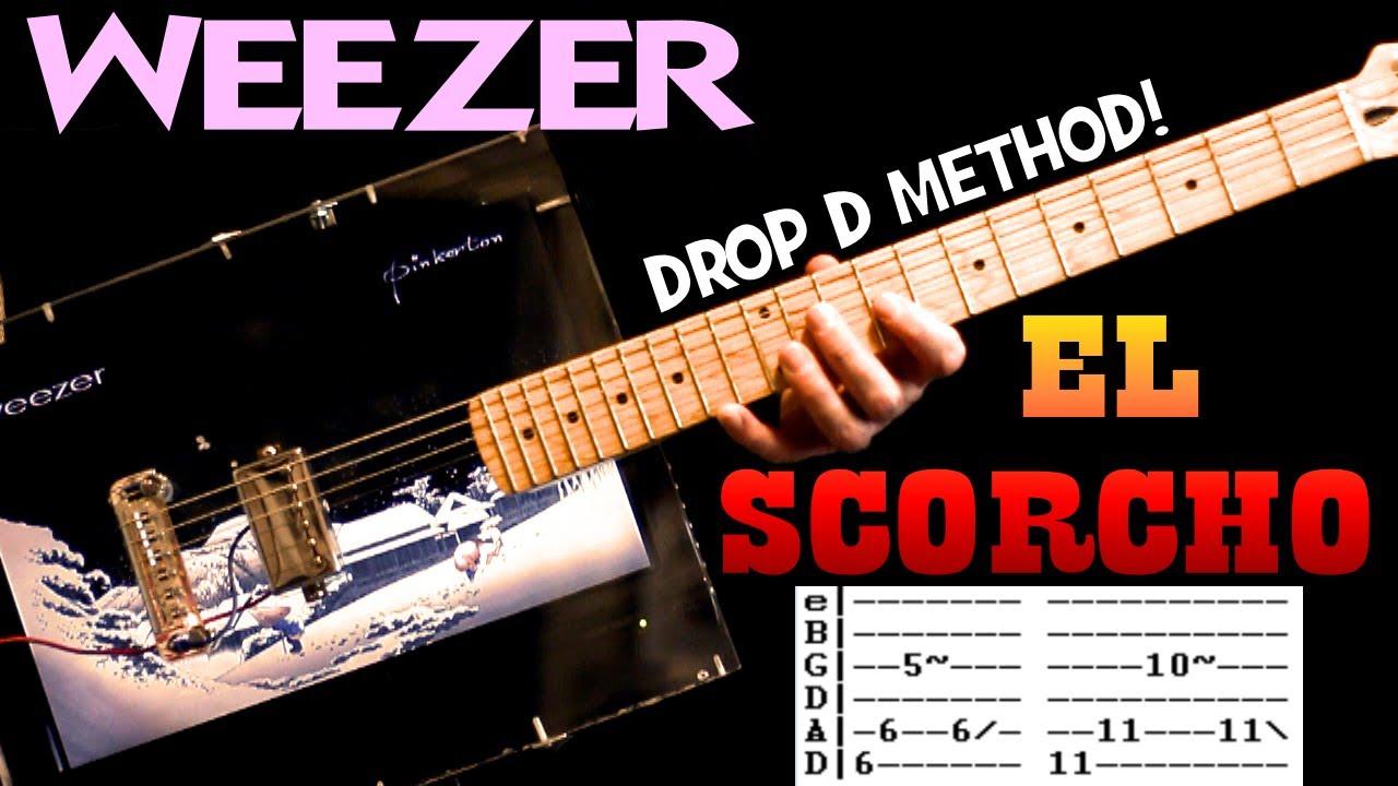 Weezer El Scorcho Guitar Chords Lesson & Tab Tutorial with Drop D Method