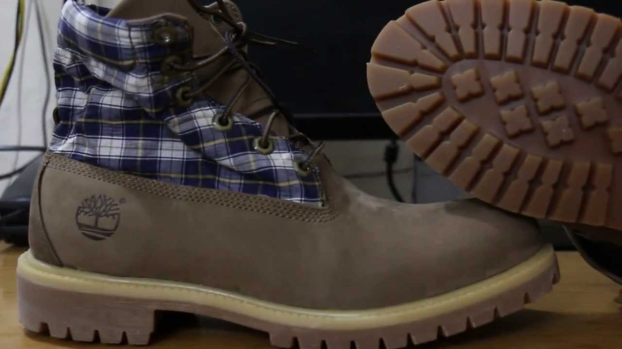 timberland roll top boots on feet