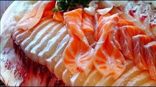 온갖생선 가득, 가락시장 해물모듬회1, 대광어,전갱이,도미,연어,농어, Karak Fish Market,가락몰 온달수산, Assorted Sashimi, Lunch In Seoul
