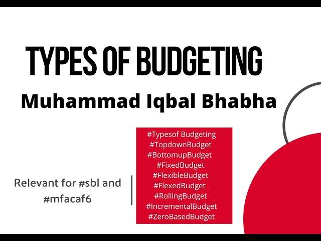 Types of Budgets | Muhammad Iqbal Bhabha