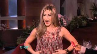 Repeat youtube video Jennifer Aniston Tests the Vibrating Bra