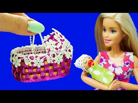 Barbie Doll Baby Set. DIY Barbie Hacks. How to Make Miniature Crafts