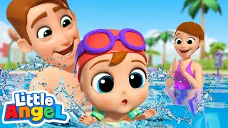 Learning To Swim | Swimming Song | Little Angel Kids Songs & Nursery Rhymes