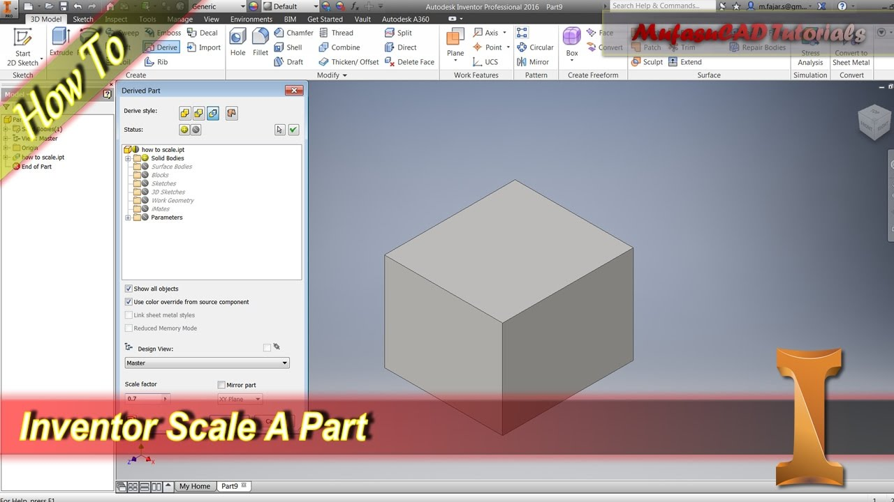 Inventor How To Scale A Part Youtube