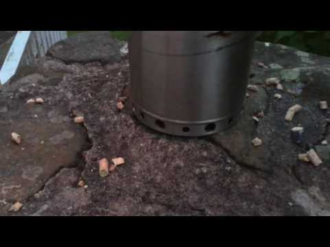 Cat Litter wood gasifier stove made from £5 thermos stainless steel flask
