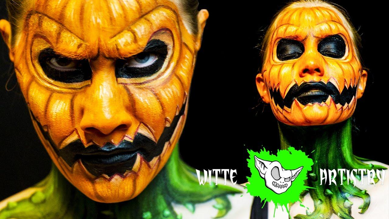 ✅JACK-O-LANTERN Scary PUMPKIN Face Halloween Makeup Tutorial in ...