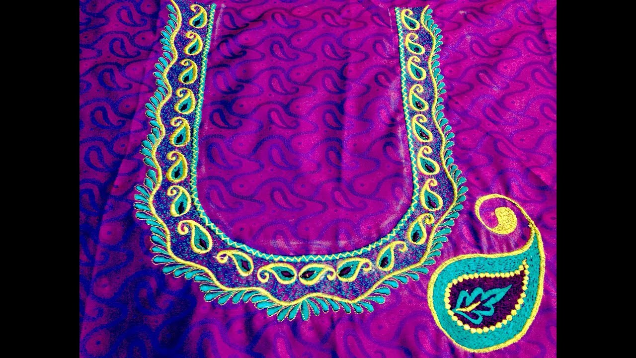 Back Neck Embroidery Designs Manual Youtube