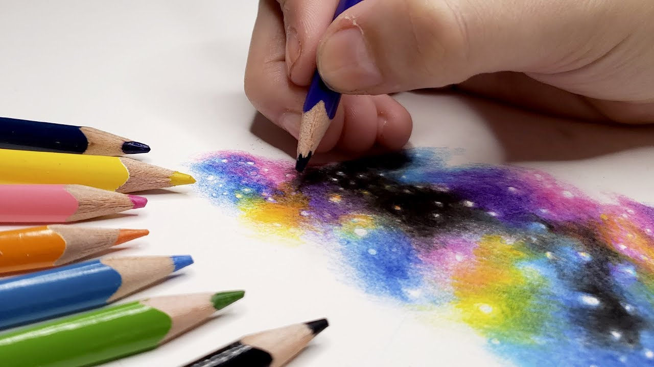 Como Pintar Galaxia Com Lapis De Cor Passo A Passo Youtube