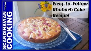 How To Make Easy Homemade Norwegian Rhubarb Cake Recipe