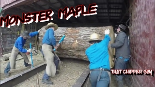 AMISH SAWING HUGE LOG!!!