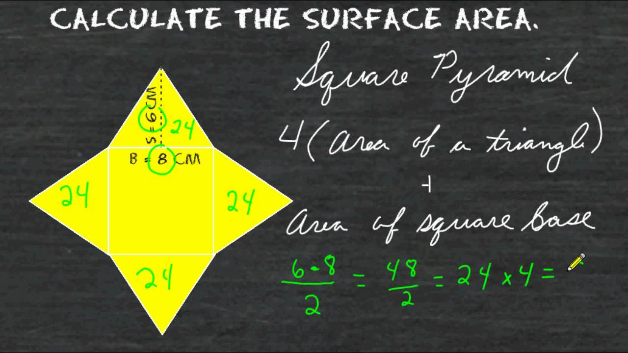 Surface area of a square pyramid net youtube ccuart Choice Image