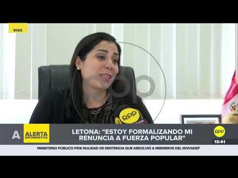 """Úrsula Letona: """"Estoy formalizando mi renuncia a la bancada Fuerza Popular"""""""