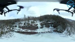 Drone Footage Of Huge Frozen Waterfall