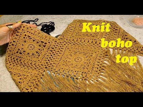 Учимся вязать летний топ в стиле бохо, с бахромой/Knit Boho Top