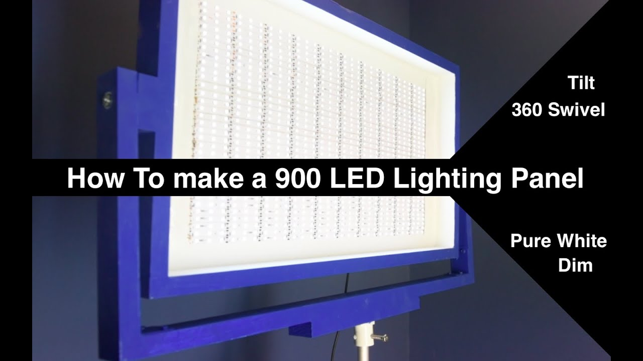dimmable tiltable swivelable 900 led light panel 72watt how to diy youtube. Black Bedroom Furniture Sets. Home Design Ideas