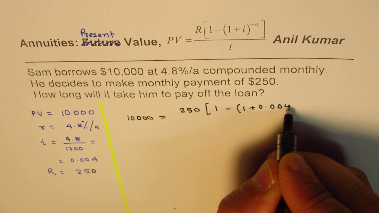 Find the Number of Years to pay Loan Present Value Annuity Example