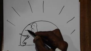 How To Draw Bright Sun To Elephant