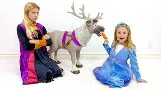 Nastya और प्रेमिका राजकुमारियों से नए खिलौने के साथ खेलते हैं