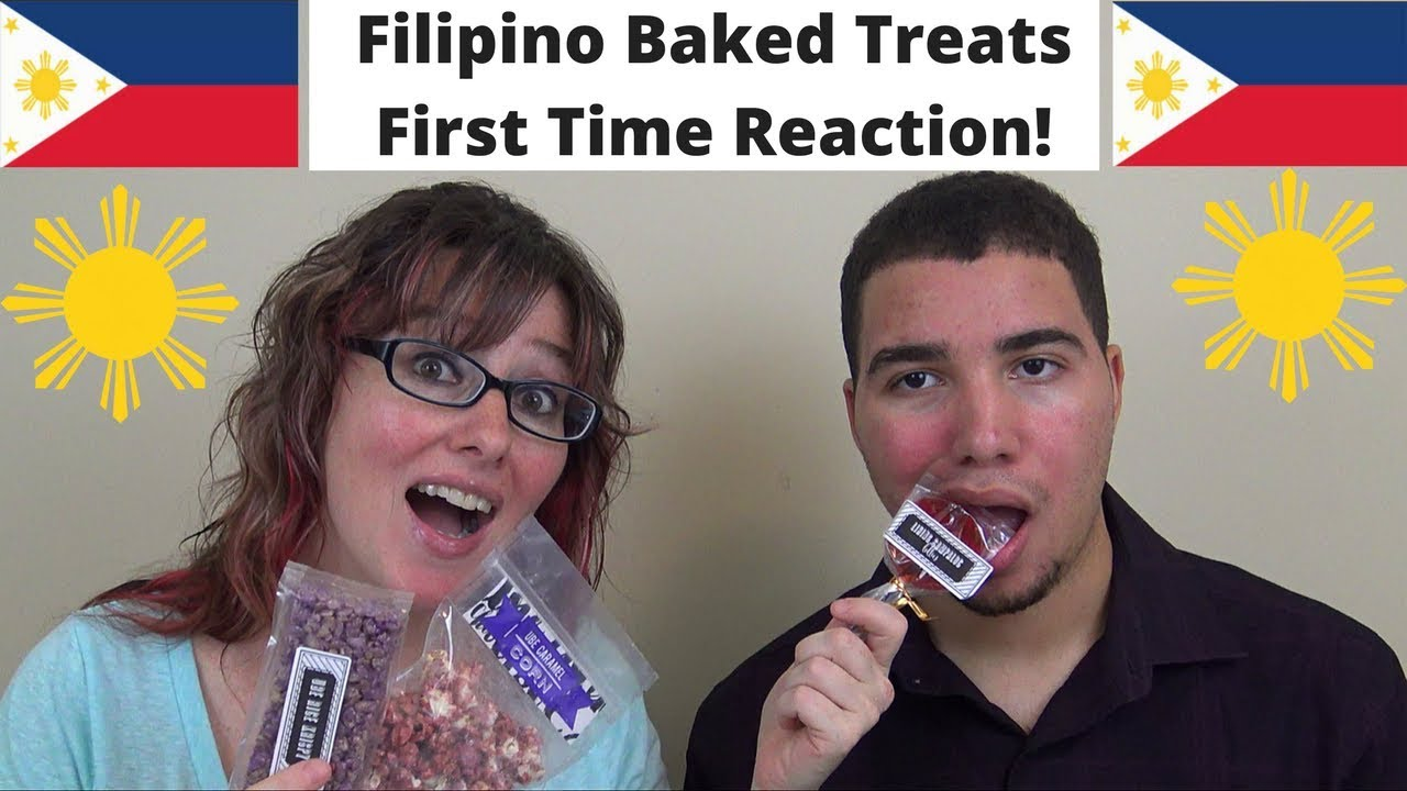 mom son trying filipino snacks treats for the first time flip