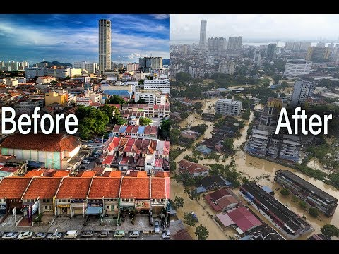 George Town before and after Typhoon Darmey,  Penang, Malaysia, floods and landslides