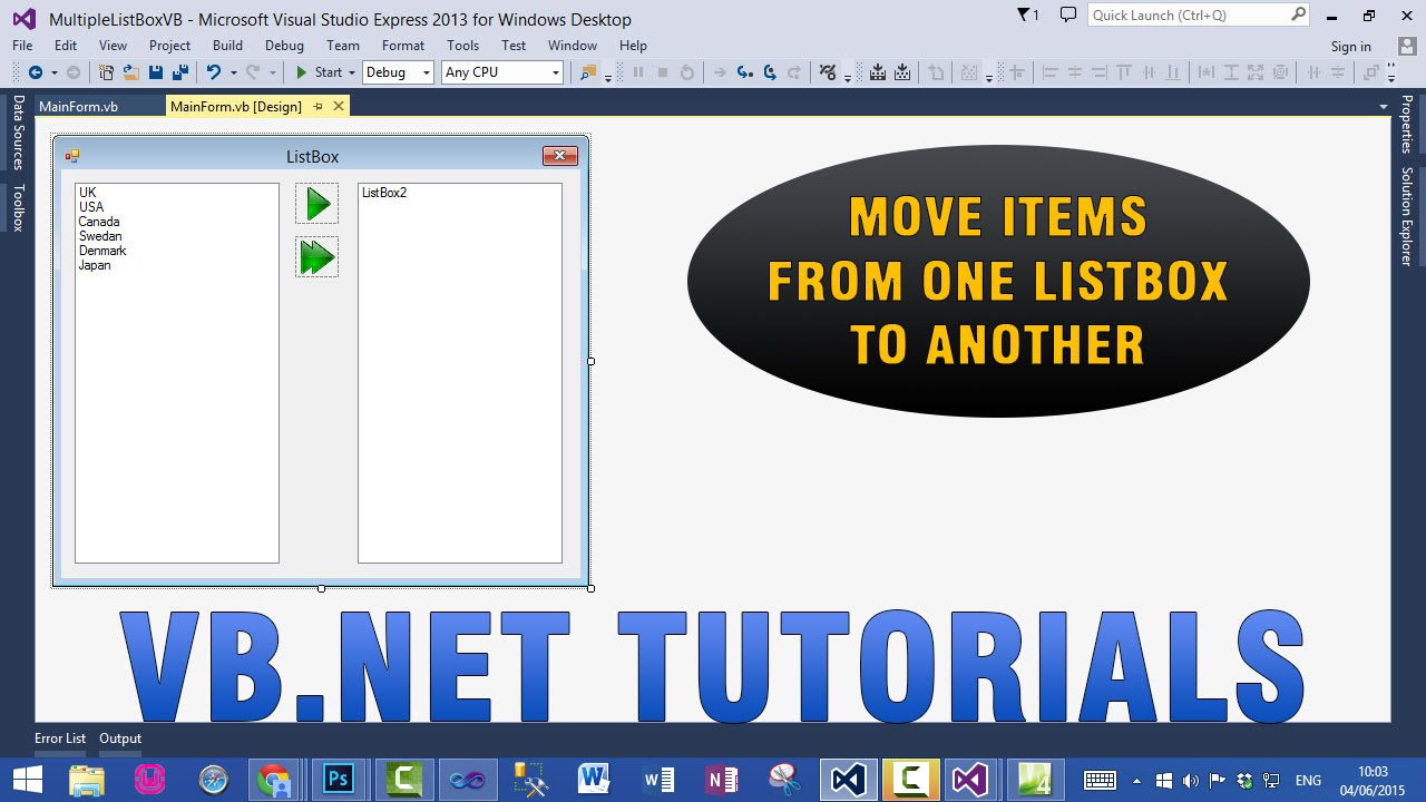VB NET Tutorials - Move multiple items from one ListBox to Another ListBox