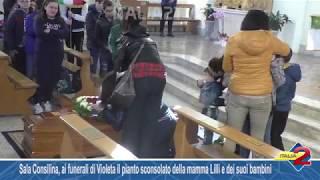 Sala Consilina, ai funerali di Violeta il pianto sconsolato della mamma Lilli e dei suoi bambini