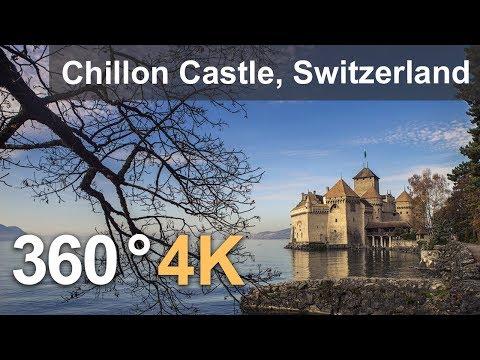 360°, Chillon Castle, Switzerland. 4К aerial video