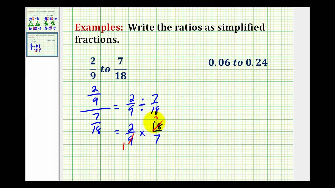 examples: write a ratio as a simplified fractions involving decimals