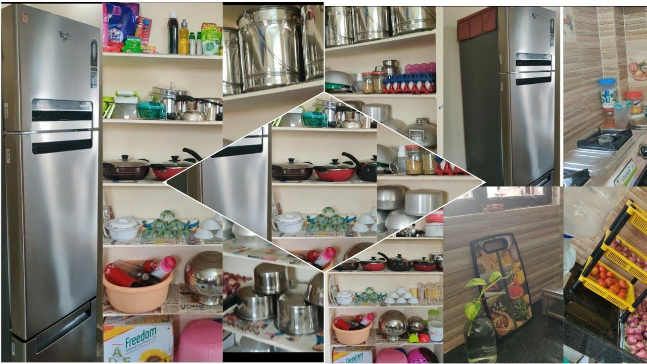 Non-Modular Kitchen Tour || Kitchen Organisation Ideas ...