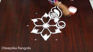 Beautifull flower muggulu design with 5x3 dots * small daily kolams * Apartment rangoli designs
