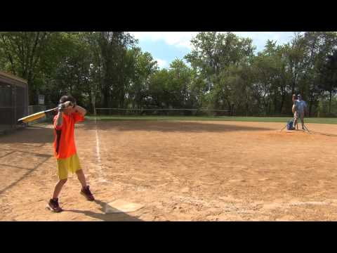 Brandon batting practice at 8 years and 3 months old