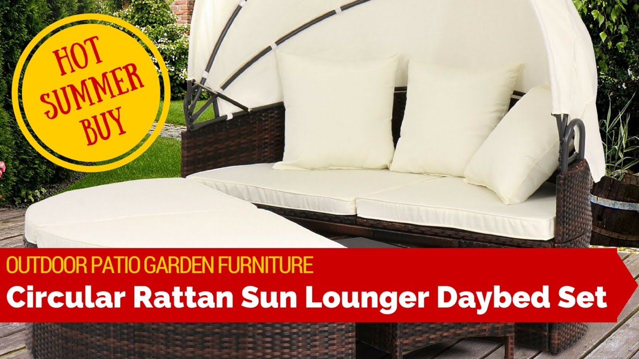 Pearl Daybed Outdoor Outdoor Patio Garden Rattan Weave Sun Lounger Day Bed Sofa Furniture Set