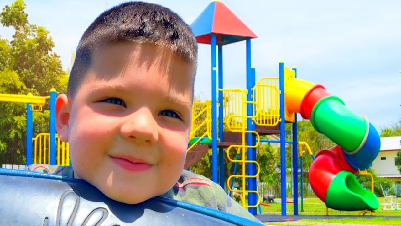 BEST PARK PLAYGROUND EVER! Caleb and MOM Plays at Fun Outdoor Playground with GIANT SLIDES for Kids!