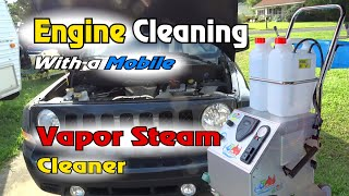 VR: ENGINE Cleaning with Vapor STEAM Cleaner -- Waterless Engine Cleaning? Auto Detailing
