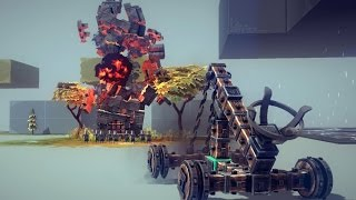 Besiege - Tutorial: How To Make A Basic Powerful Catapult!